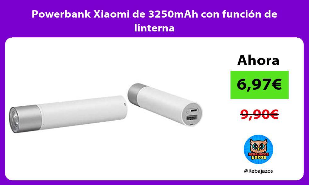 Powerbank Xiaomi de 3250mAh con funcion de linterna