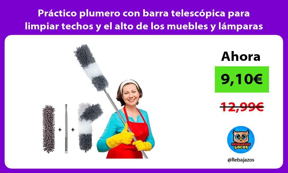 Practico plumero con barra telescopica para limpiar techos y el alto de los muebles y lamparas