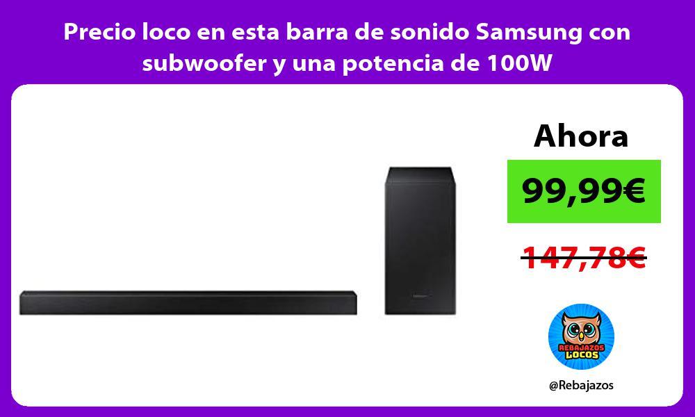 Precio loco en esta barra de sonido Samsung con subwoofer y una potencia de 100W