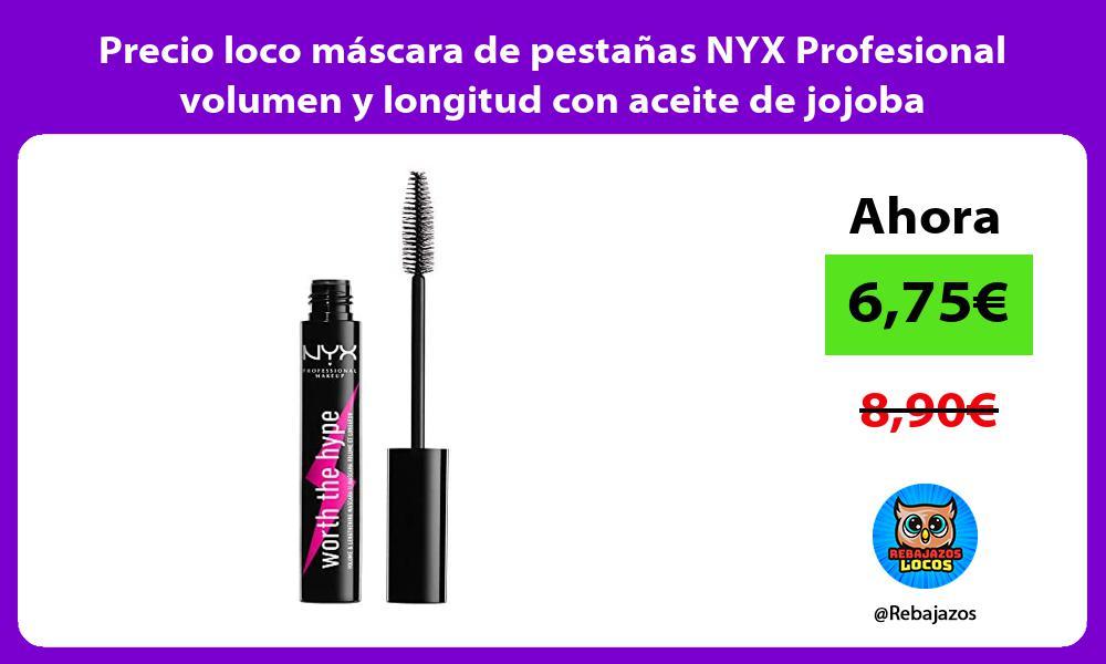 Precio loco mascara de pestanas NYX Profesional volumen y longitud con aceite de jojoba