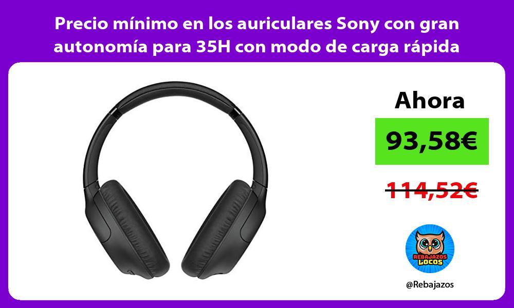 Precio minimo en los auriculares Sony con gran autonomia para 35H con modo de carga rapida