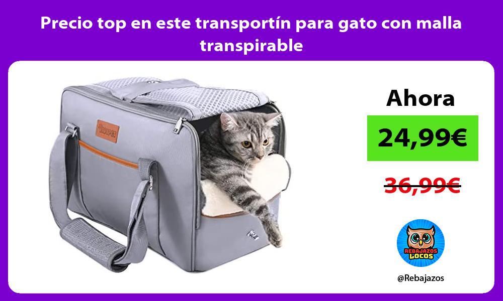 Precio top en este transportin para gato con malla transpirable