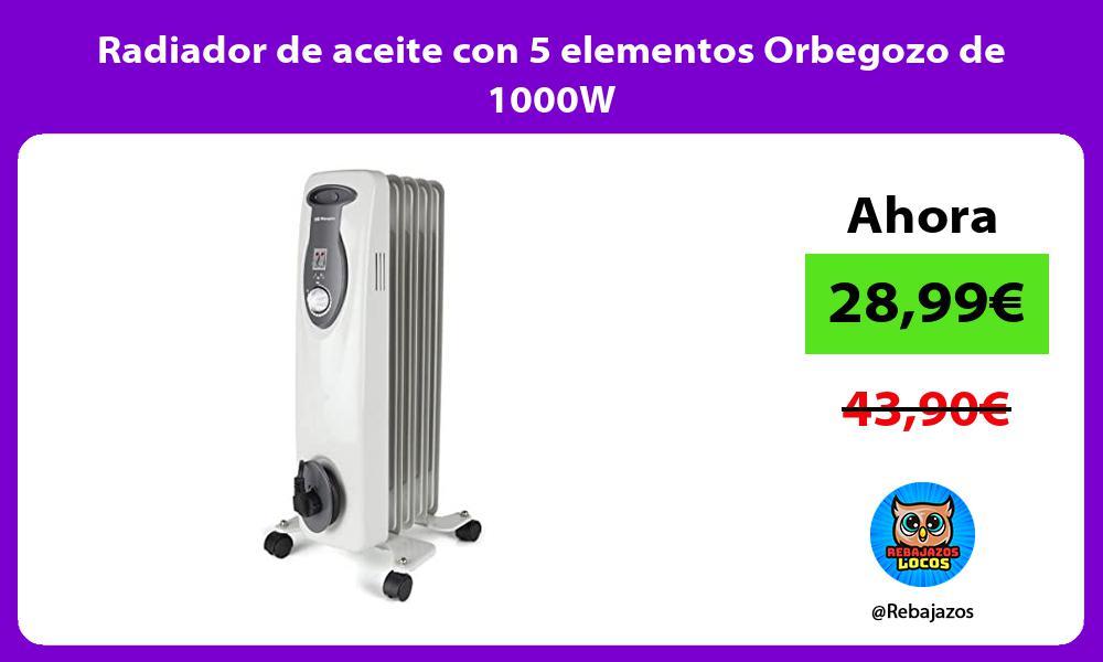Radiador de aceite con 5 elementos Orbegozo de 1000W