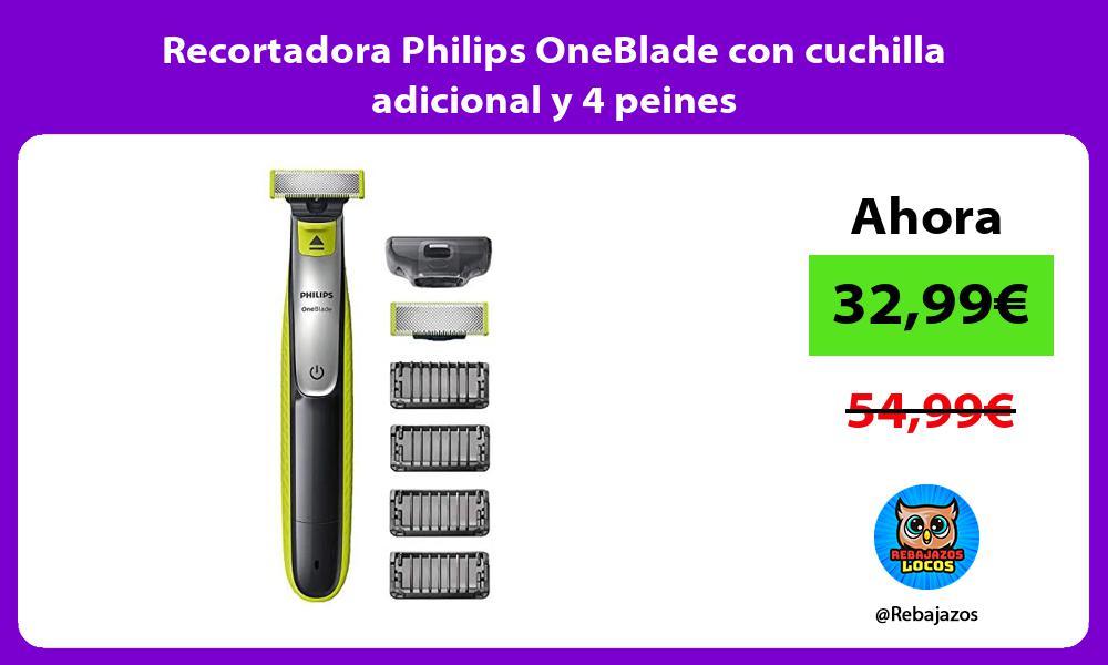 Recortadora Philips OneBlade con cuchilla adicional y 4 peines