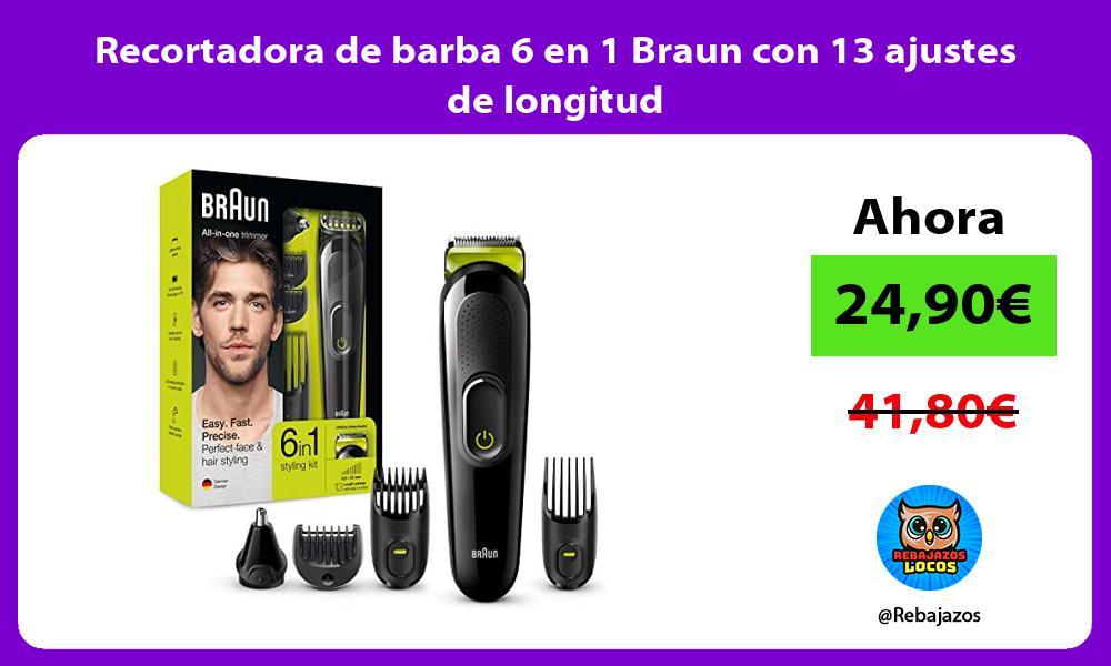 Recortadora de barba 6 en 1 Braun con 13 ajustes de longitud