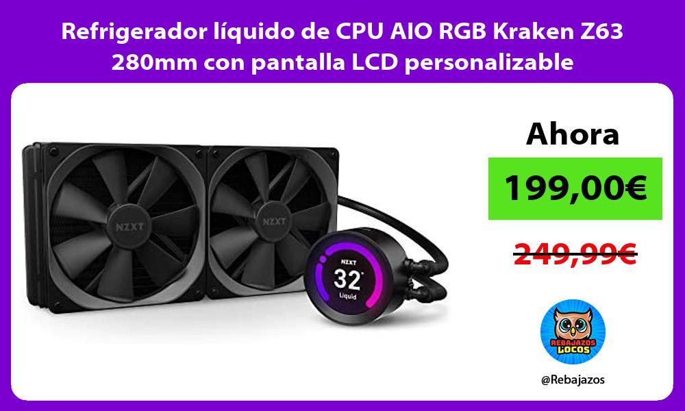 Refrigerador liquido de CPU AIO RGB Kraken Z63 280mm con pantalla LCD personalizable