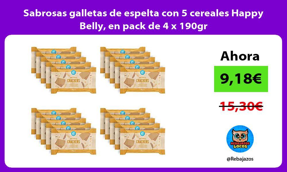 Sabrosas galletas de espelta con 5 cereales Happy Belly en pack de 4 x 190gr