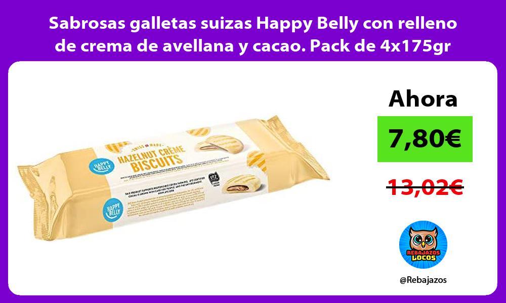 Sabrosas galletas suizas Happy Belly con relleno de crema de avellana y cacao Pack de 4x175gr
