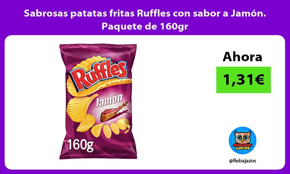 Sabrosas patatas fritas Ruffles con sabor a Jamon Paquete de 160gr