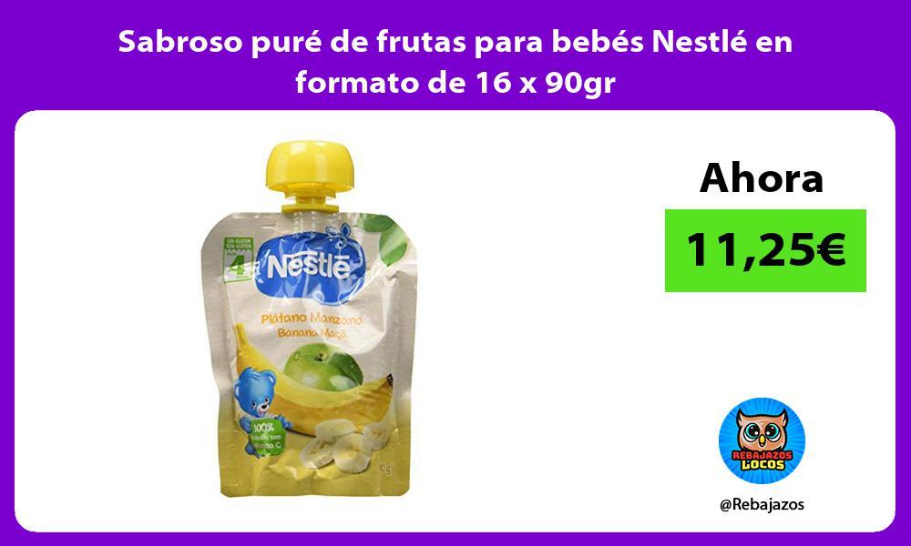Sabroso pure de frutas para bebes Nestle en formato de 16 x 90gr