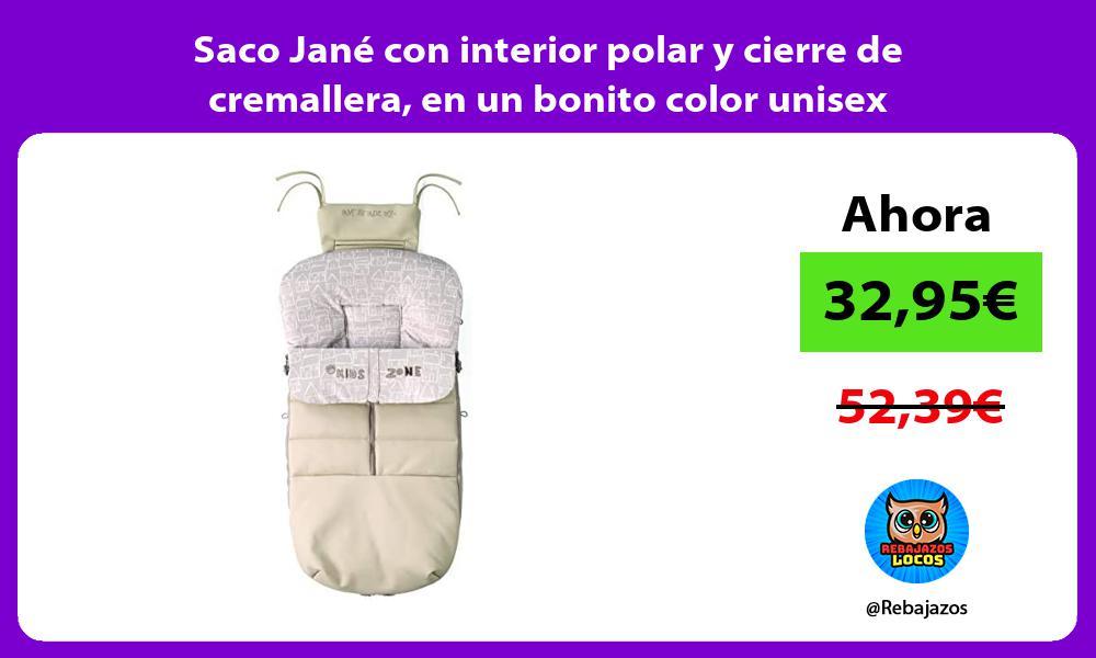 Saco Jane con interior polar y cierre de cremallera en un bonito color unisex