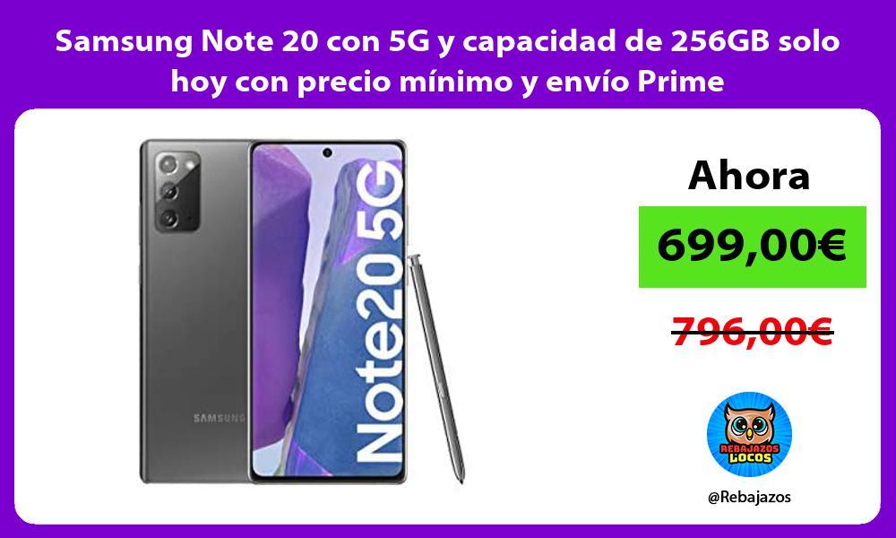 Samsung Note 20 con 5G y capacidad de 256GB solo hoy con precio minimo y envio Prime
