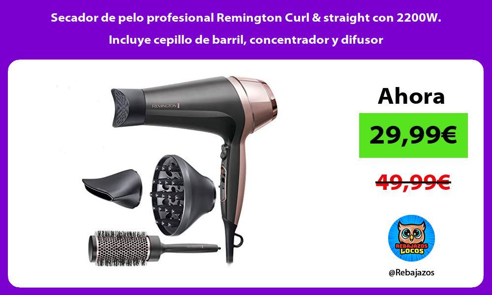 Secador de pelo profesional Remington Curl straight con 2200W Incluye cepillo de barril concentrador y difusor