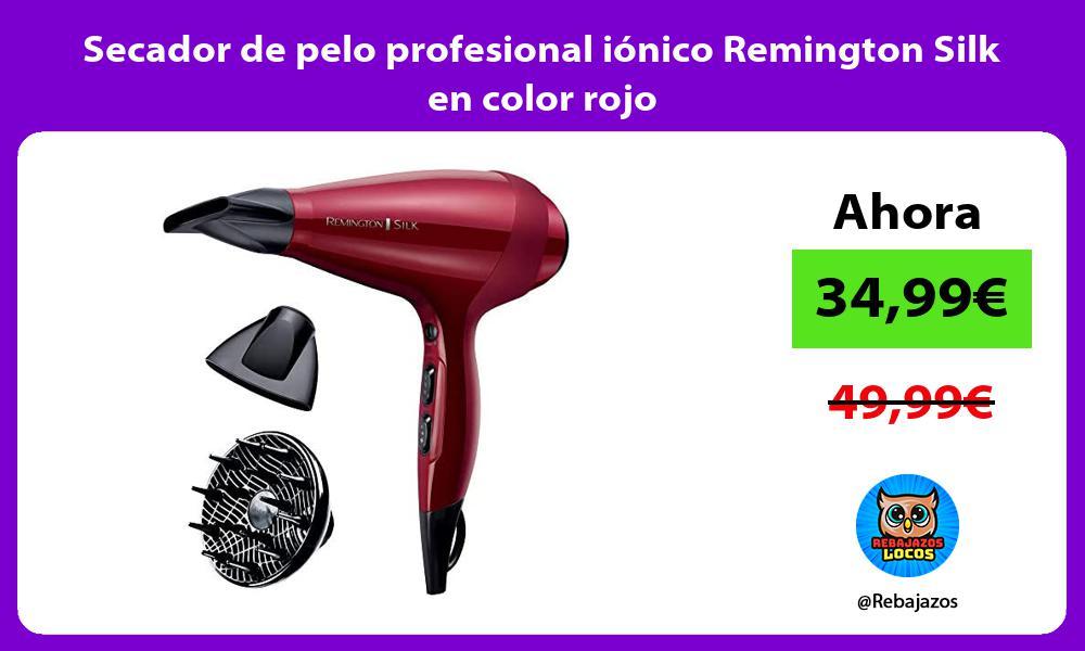 Secador de pelo profesional ionico Remington Silk en color rojo