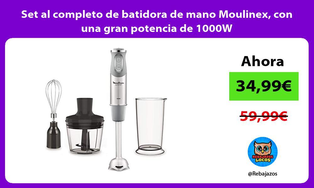 Set al completo de batidora de mano Moulinex con una gran potencia de 1000W