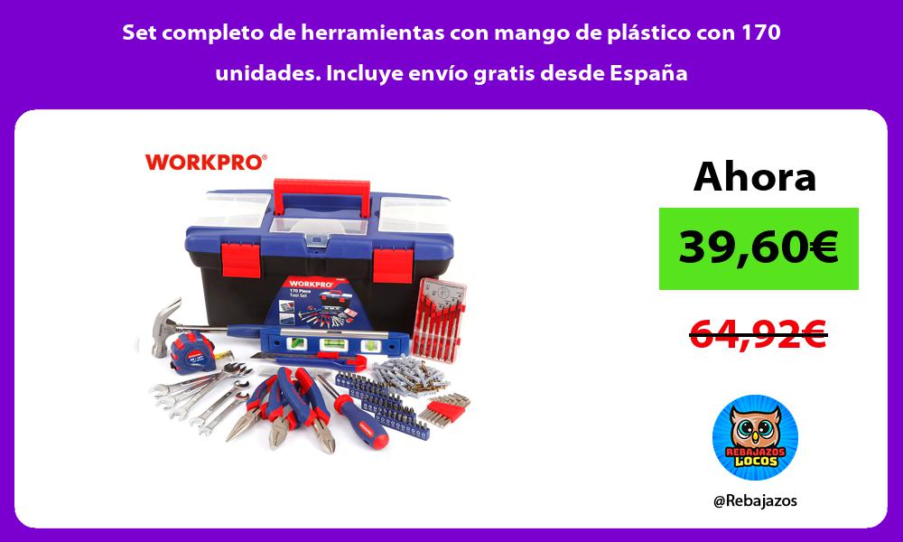 Set completo de herramientas con mango de plastico con 170 unidades Incluye envio gratis desde Espana