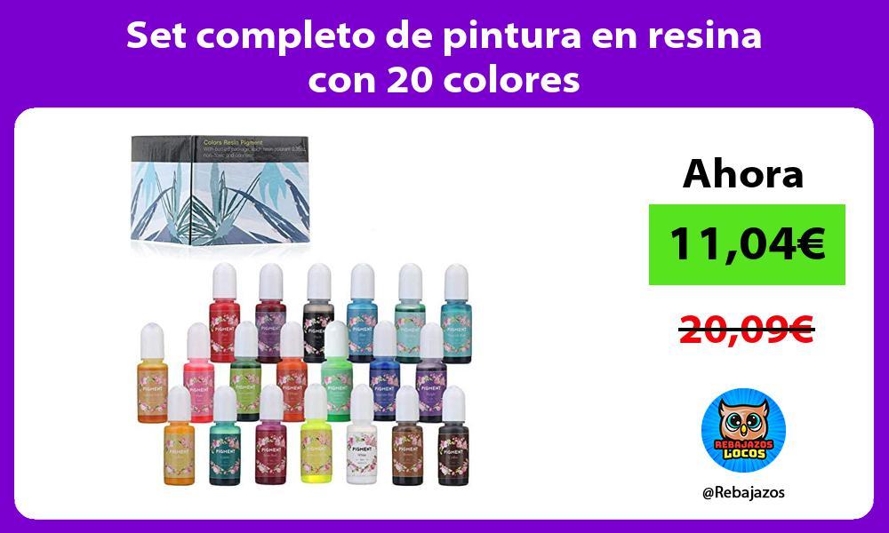Set completo de pintura en resina con 20 colores