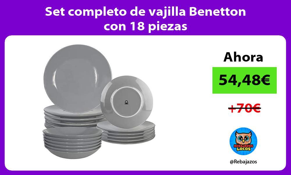 Set completo de vajilla Benetton con 18 piezas
