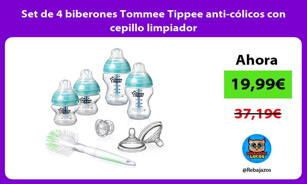 Set de 4 biberones Tommee Tippee anti colicos con cepillo limpiador