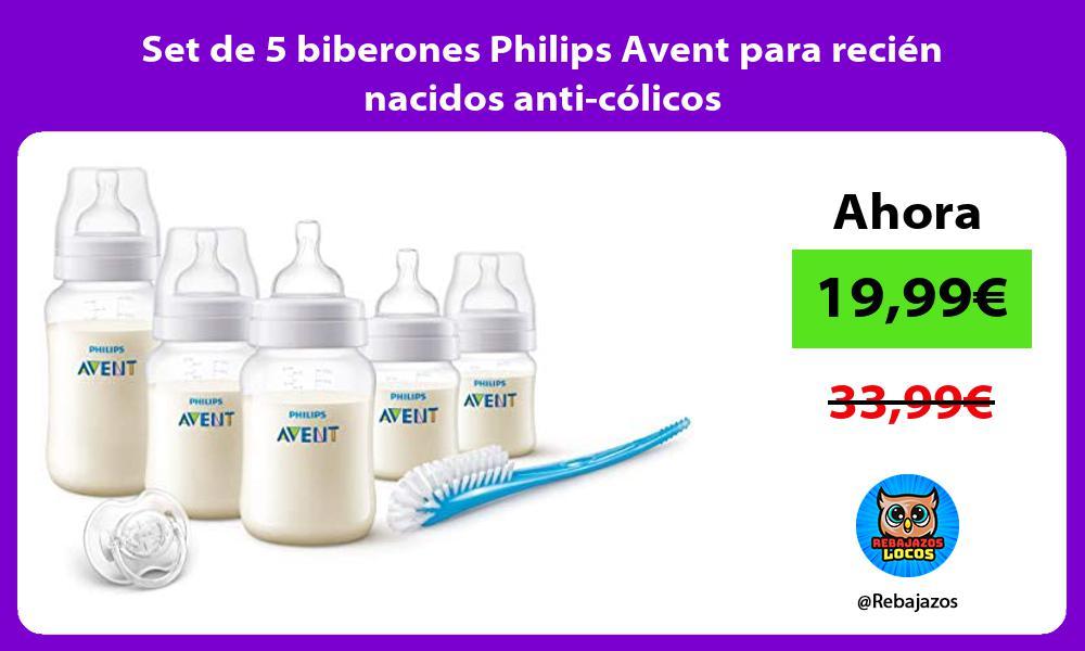 Set de 5 biberones Philips Avent para recien nacidos anti colicos