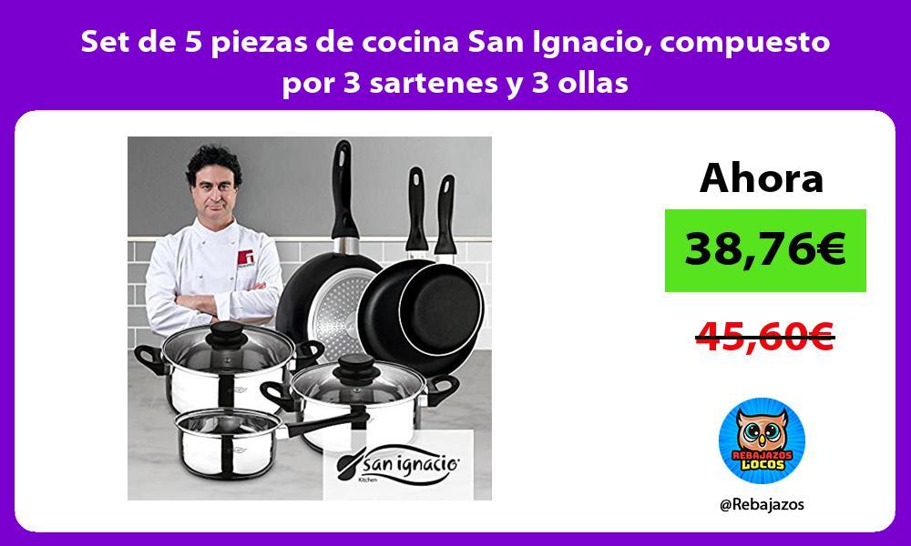 Set de 5 piezas de cocina San Ignacio compuesto por 3 sartenes y 3 ollas