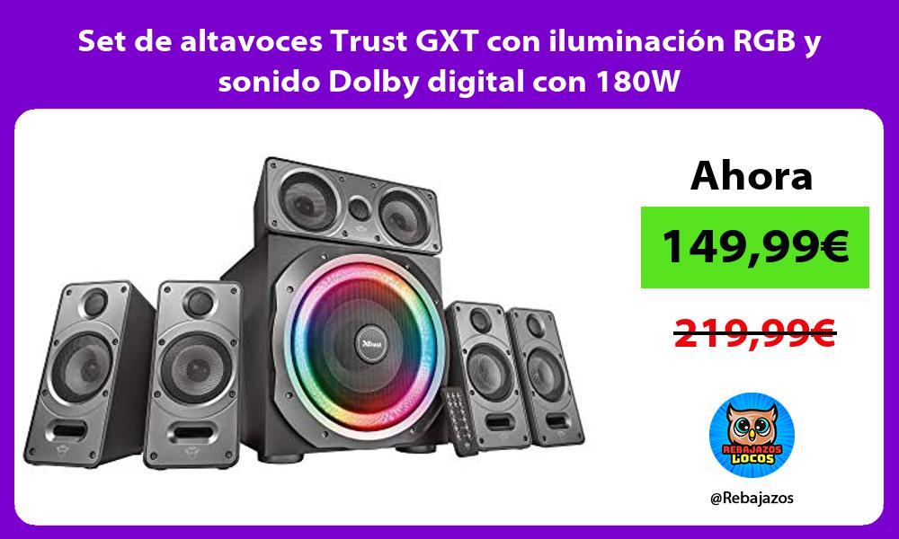 Set de altavoces Trust GXT con iluminacion RGB y sonido Dolby digital con 180W