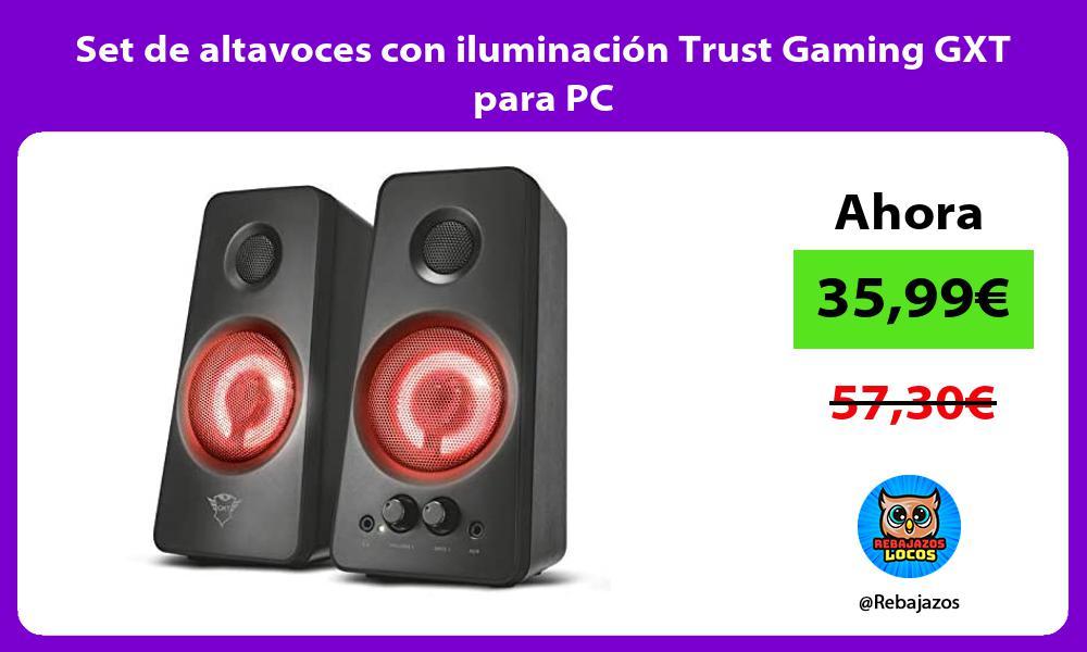 Set de altavoces con iluminacion Trust Gaming GXT para PC