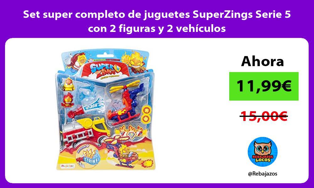 Set super completo de juguetes SuperZings Serie 5 con 2 figuras y 2 vehiculos