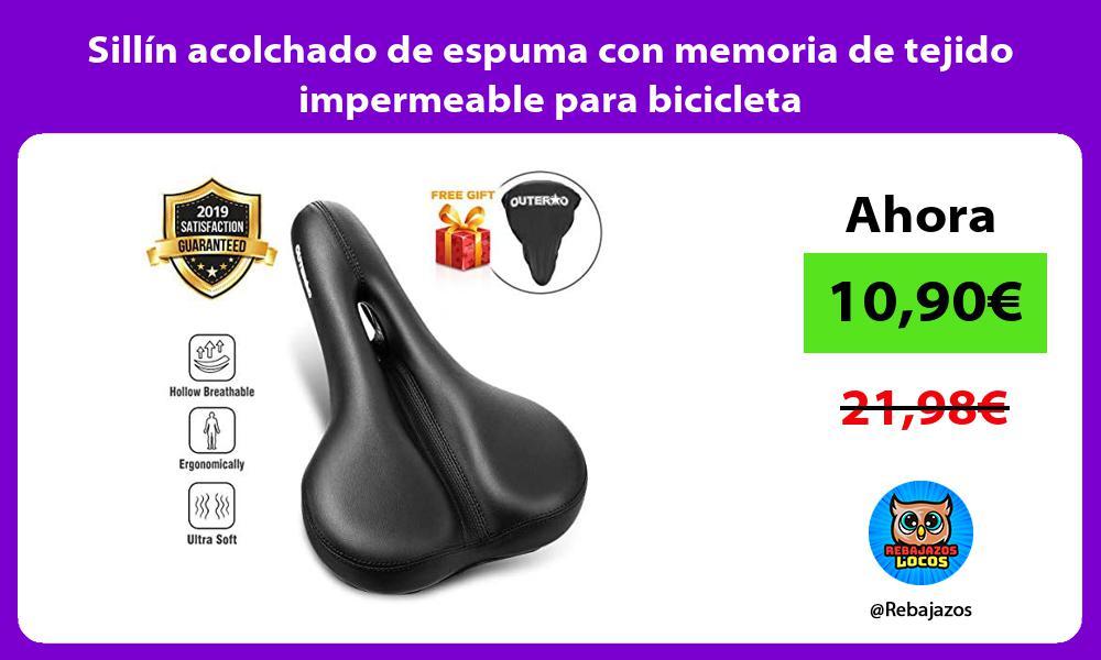 Sillin acolchado de espuma con memoria de tejido impermeable para bicicleta