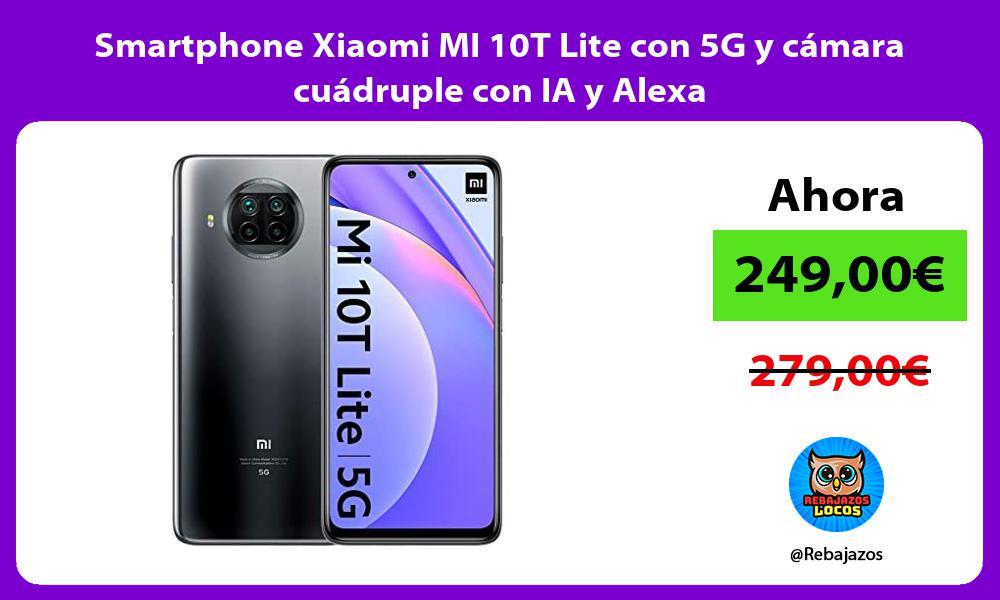 Smartphone Xiaomi MI 10T Lite con 5G y camara cuadruple con IA y Alexa