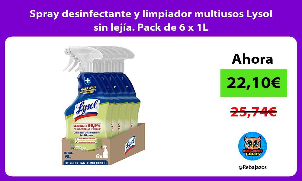 Spray desinfectante y limpiador multiusos Lysol sin lejia Pack de 6 x 1L