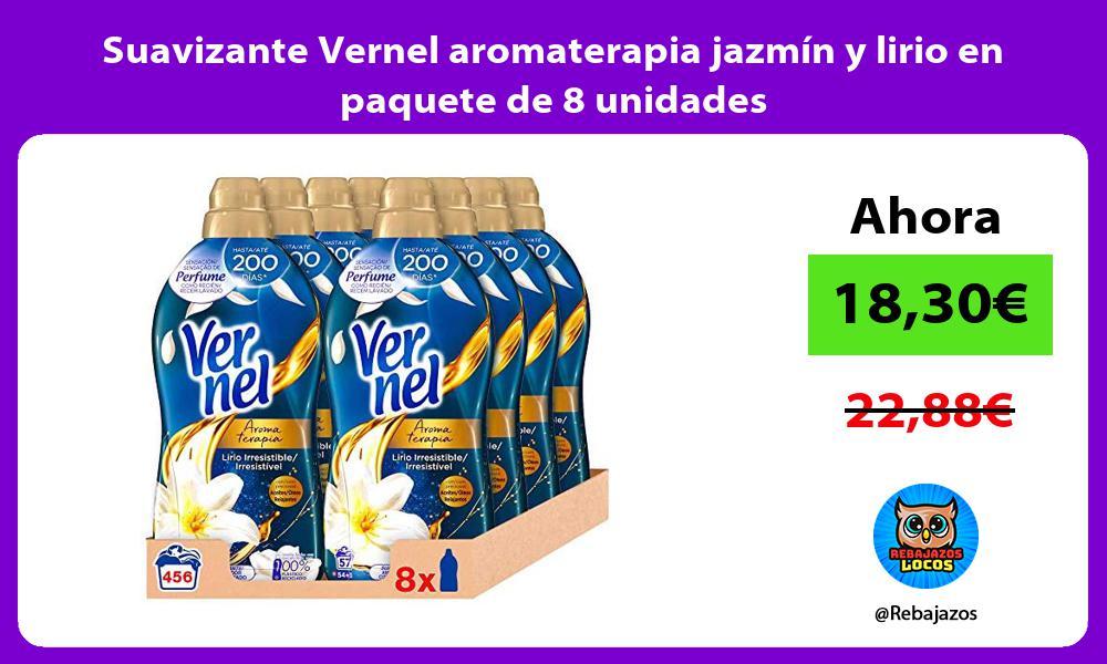 Suavizante Vernel aromaterapia jazmin y lirio en paquete de 8 unidades