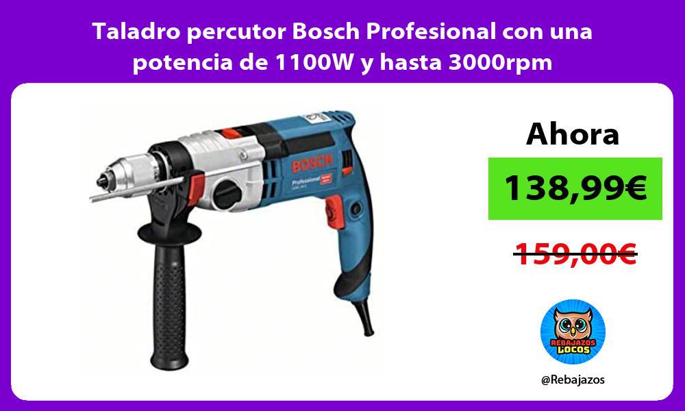 Taladro percutor Bosch Profesional con una potencia de 1100W y hasta 3000rpm