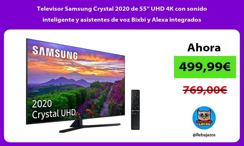 Televisor Samsung Crystal 2020 de 55 UHD 4K con sonido inteligente y asistentes de voz Bixbi y Alexa integrados