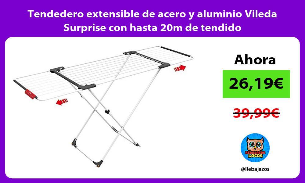 Tendedero extensible de acero y aluminio Vileda Surprise con hasta 20m de tendido