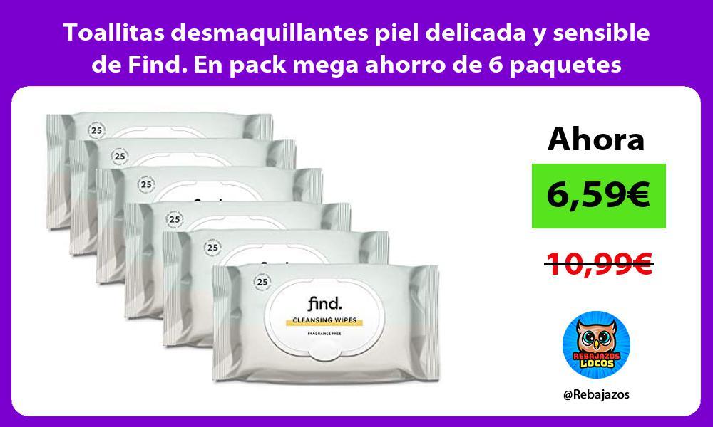 Toallitas desmaquillantes piel delicada y sensible de Find En pack mega ahorro de 6 paquetes
