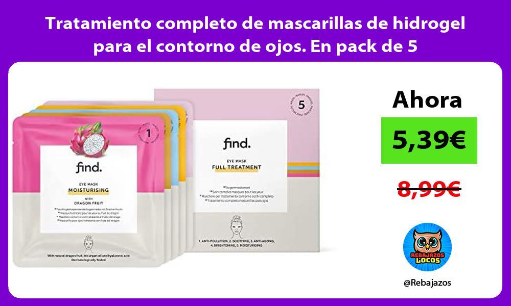 Tratamiento completo de mascarillas de hidrogel para el contorno de ojos En pack de 5