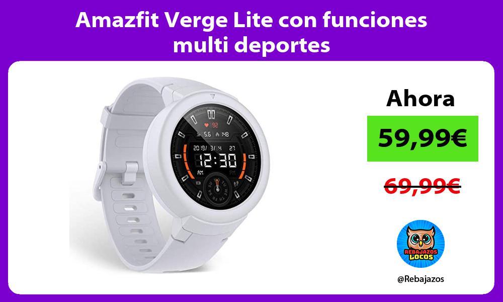 Amazfit Verge Lite con funciones multi deportes