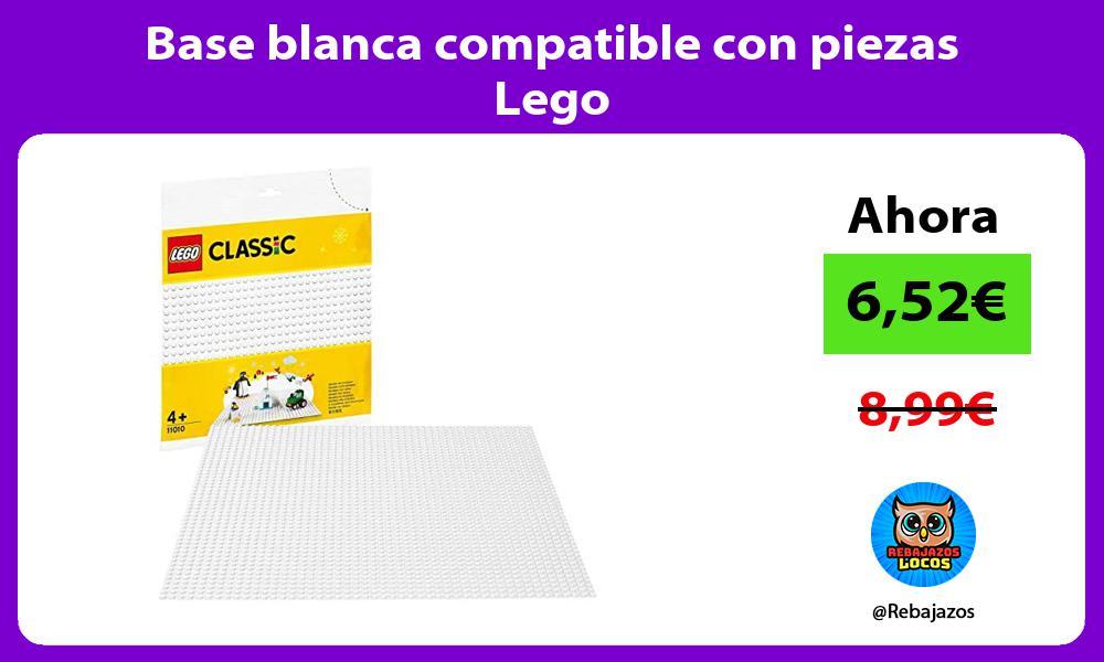 Base blanca compatible con piezas Lego