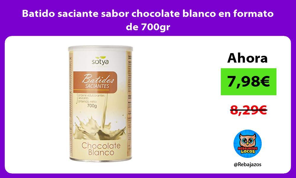 Batido saciante sabor chocolate blanco en formato de 700gr