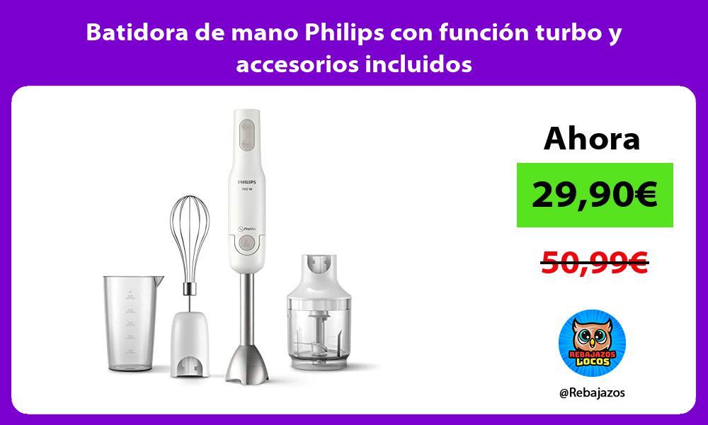 Batidora de mano Philips con funcion turbo y accesorios incluidos