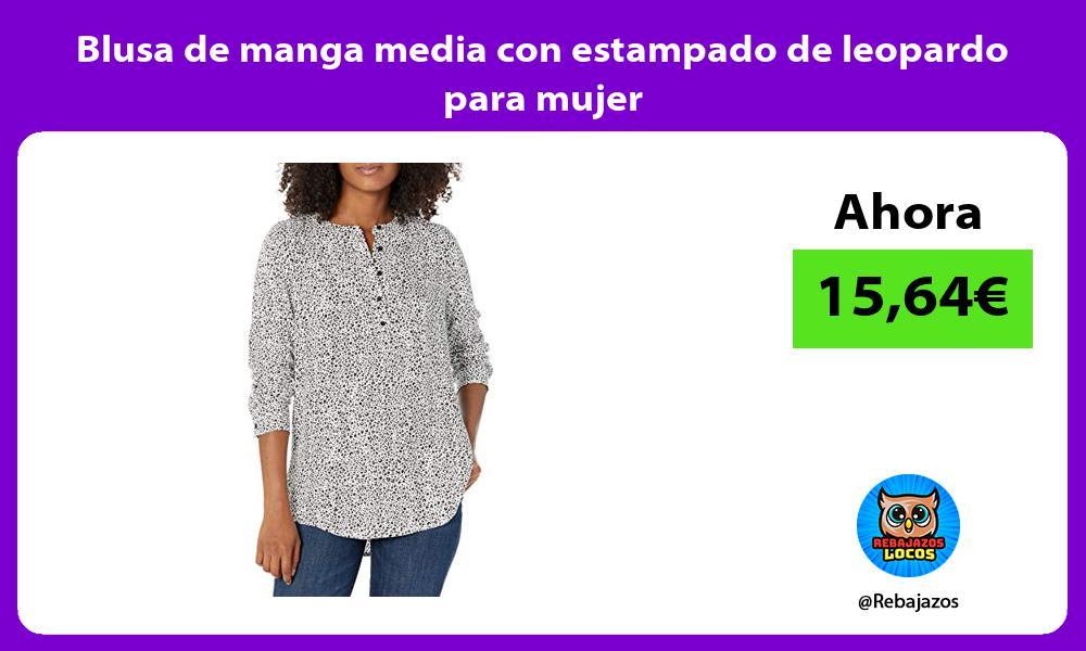 Blusa de manga media con estampado de leopardo para mujer