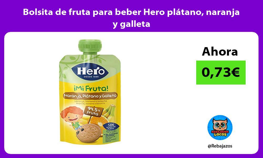 Bolsita de fruta para beber Hero platano naranja y galleta