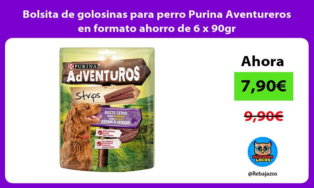 Bolsita de golosinas para perro Purina Aventureros en formato ahorro de 6 x 90gr