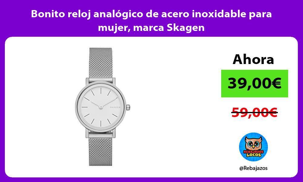 Bonito reloj analogico de acero inoxidable para mujer marca Skagen