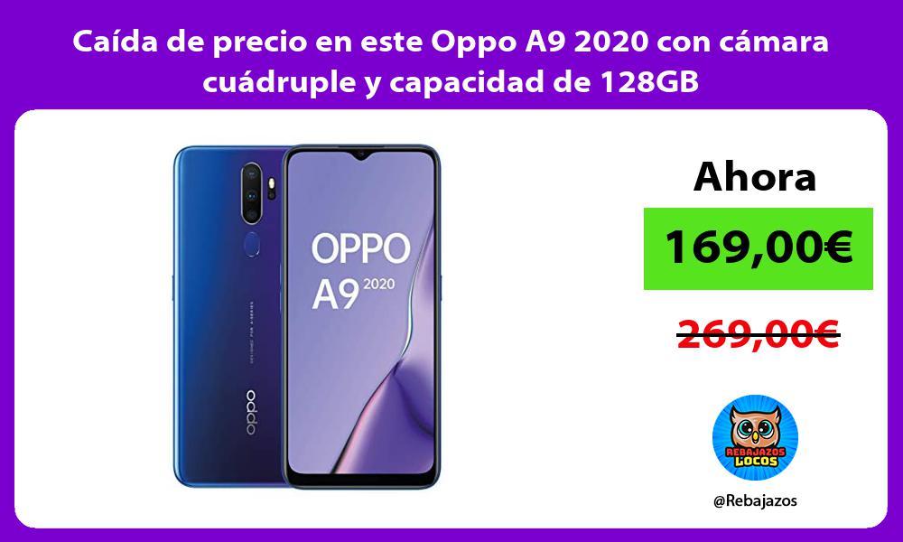 Caida de precio en este Oppo A9 2020 con camara cuadruple y capacidad de 128GB