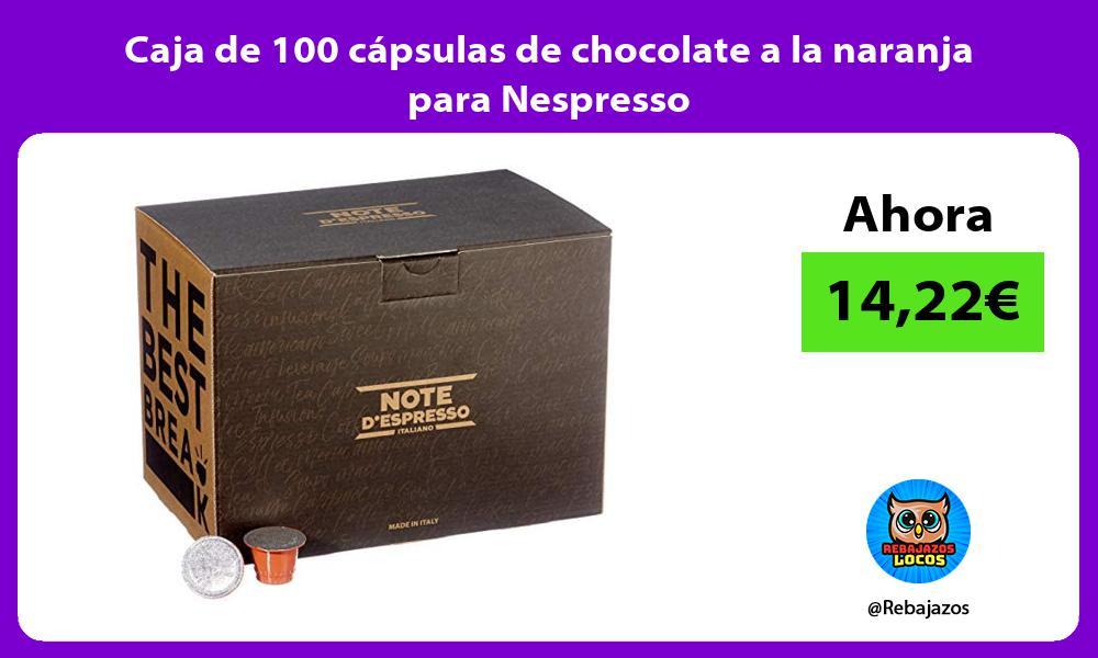 Caja de 100 capsulas de chocolate a la naranja para Nespresso