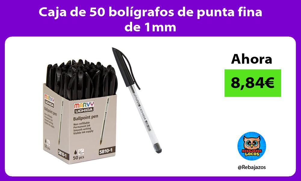 Caja de 50 boligrafos de punta fina de 1mm