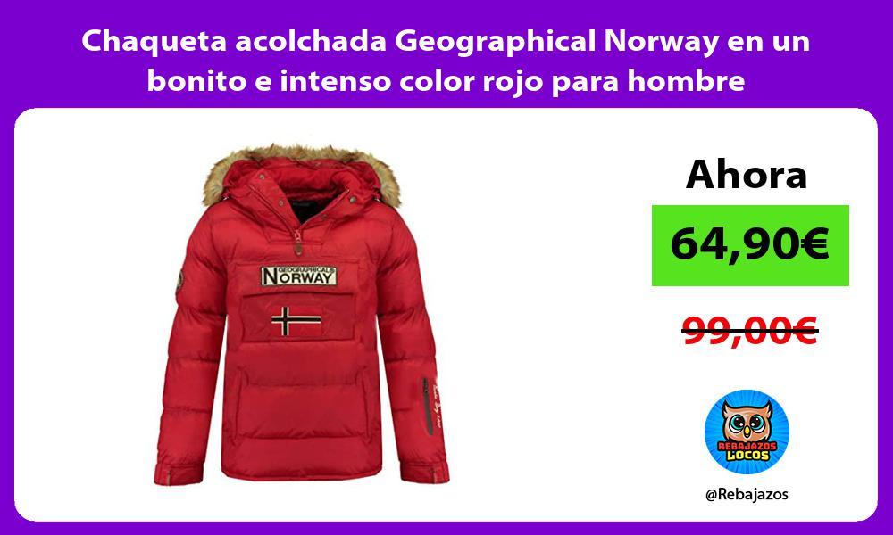 Chaqueta acolchada Geographical Norway en un bonito e intenso color rojo para hombre
