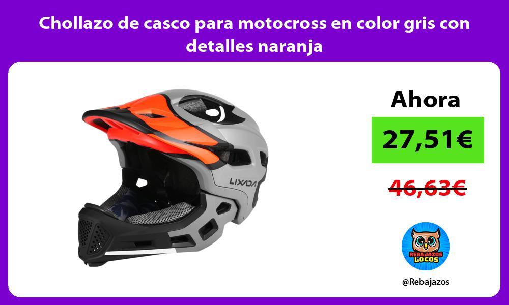 Chollazo de casco para motocross en color gris con detalles naranja